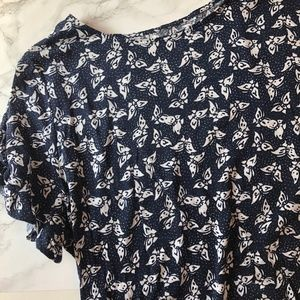 Loft Blue and White Butterfly Print Tee